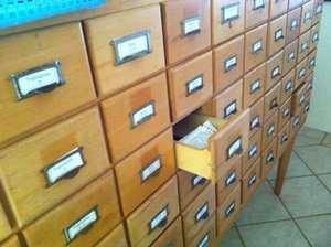 My personal seed collection is stored in an old, 72 drawer library card drawer.  Complete with old book smell.
